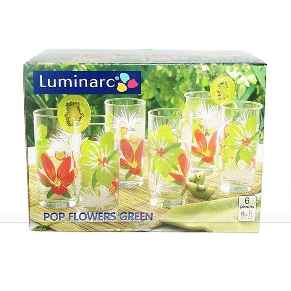 Стаканы POP FLOWERS GREEN высокие 27cl 6 шт.  ОАЭ  89416