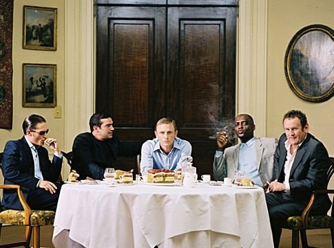Far left, Tom Hardy as Clarkie; center left, Tamer Hassan as Terry; center, Daniel Craig as XXXX; center right, George Harris as Morty; far right, Colm Meaney as Gene