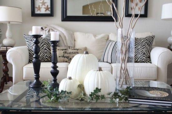 Wohnzimmer Einrichtung Elegante Ideen Herbstdeko In Wei