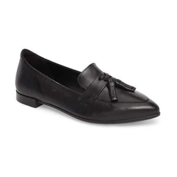 Women's Ecco Pointy Toe Flat (820 HKD) ❤ liked on Polyvore featuring shoes, flats, black leather, black leather loafers, pointed toe flats, black flats, ecco shoes and leather flats
