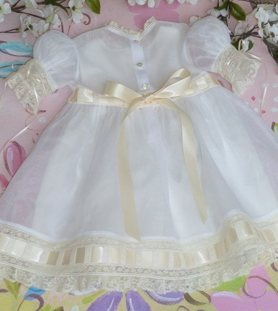 White and Ivory Organdy Heirloom Dress and by justforbabyonline