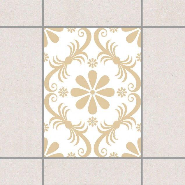 Fliesenaufkleber   Blumendesign White Light Brown 20cm X 15cm # Fliesensticker #Fliesenbild #Fliesendeko #