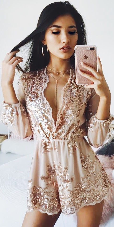 I Could Use A Love Song Playsuit In Rose Gold