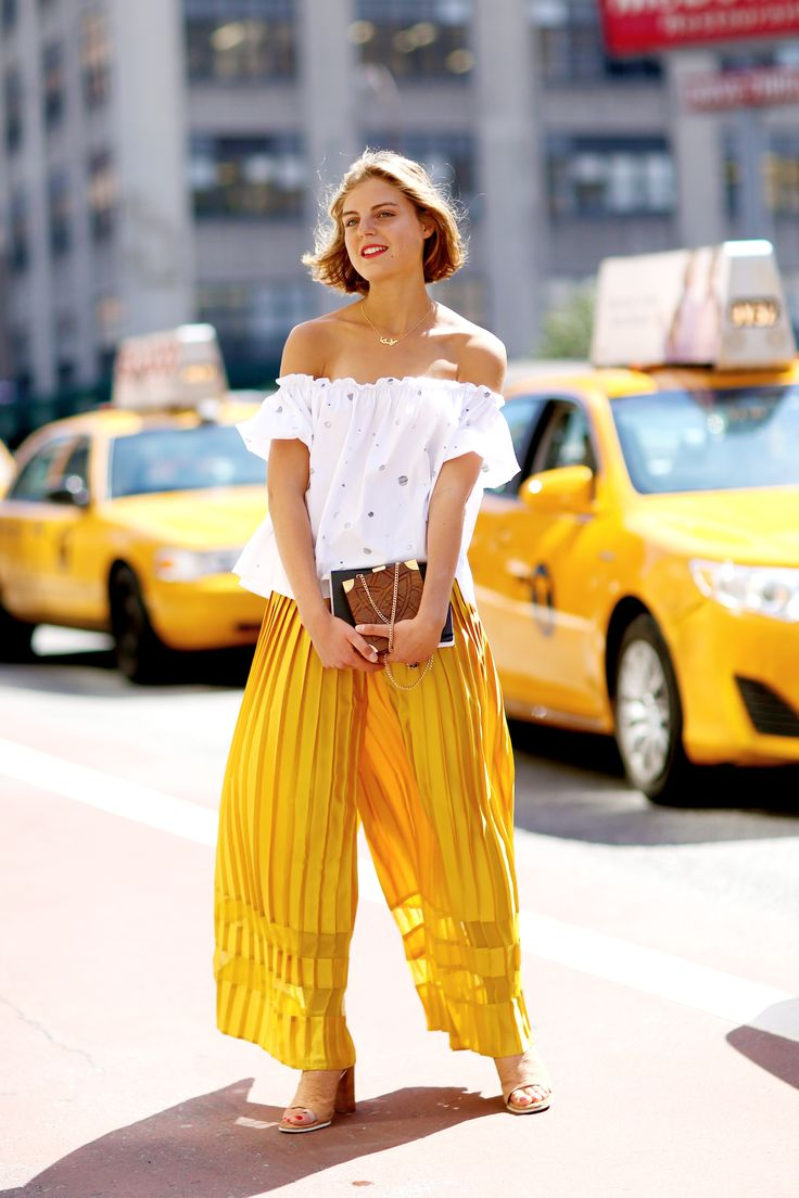 Off the shoulder top, pleated culottes and tan mules