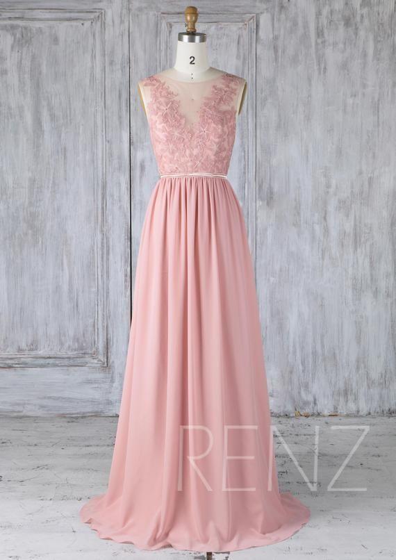 81e89a96b26 Bridesmaid Dress Dusty Rose Chiffon Party Dress Wedding Dress with ...