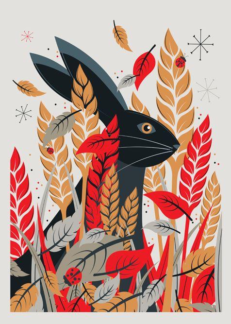 Hare print by Neil Stevens - $42.50 USD #art #illustration  #rabbit