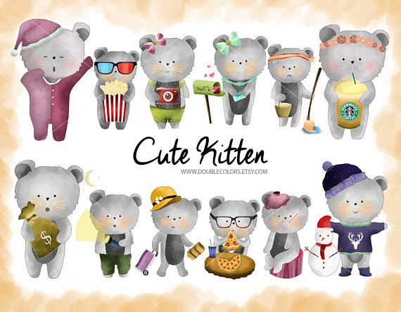 Cute kitten clipart  Cute cat printable 12 png  high