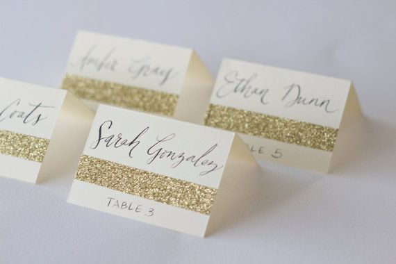 Glitter Escort Cards with Custom Calligraphy for Wedding Event Party or Shower with Name and Table Number