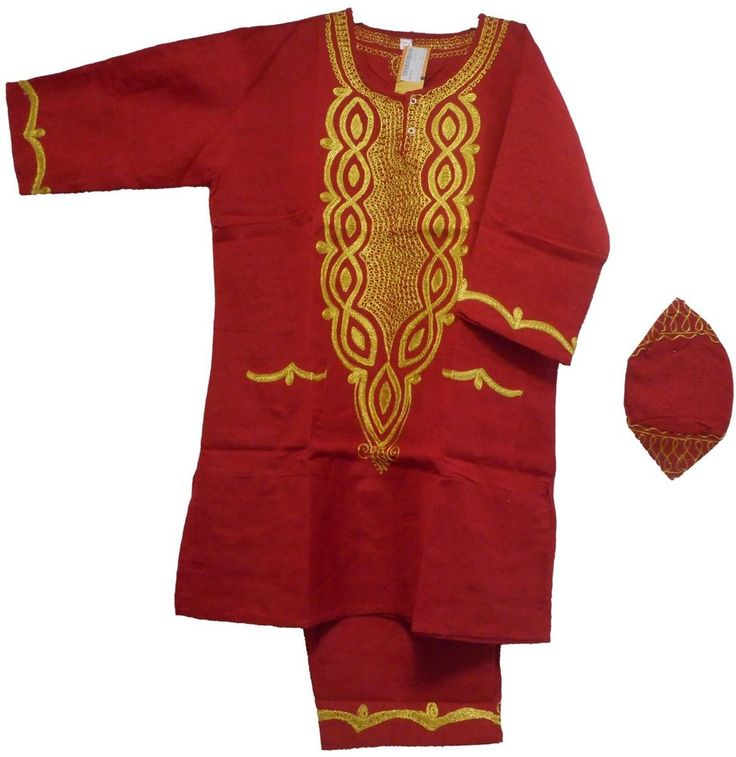 Red Gold Dashiki Vintage African Black History Month Men's Pant Suit One Size  #Handmade #TraditionalRayonwithBrocadeprintSuit