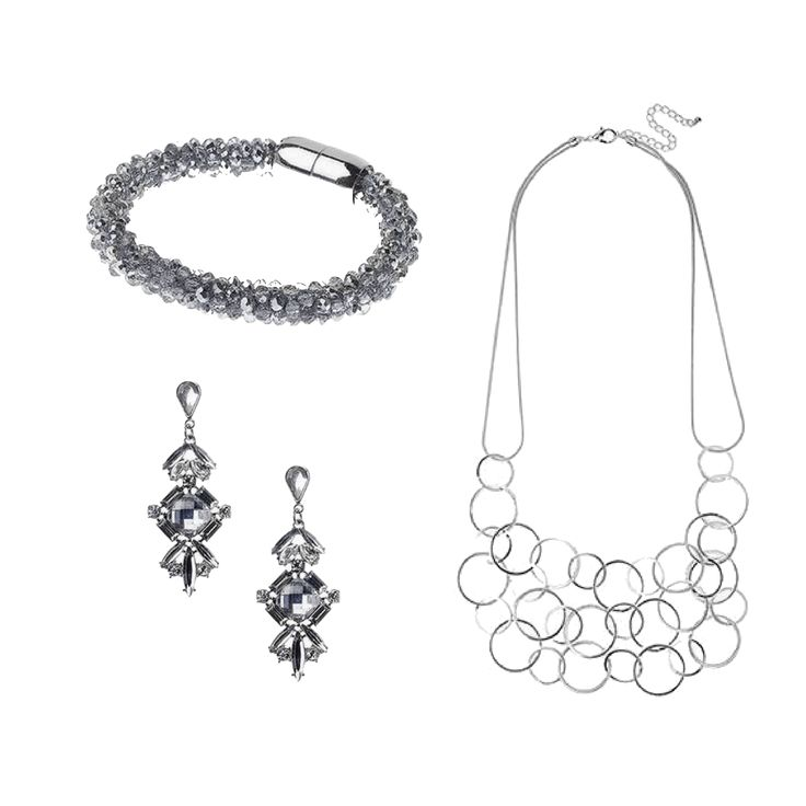 Jeminee Jewellery Silver Statement Gift Set | #Bracelet, #Earrings and #Necklace | #ValentinesDay #GiftForHer #Style #Fashion #Jewelry