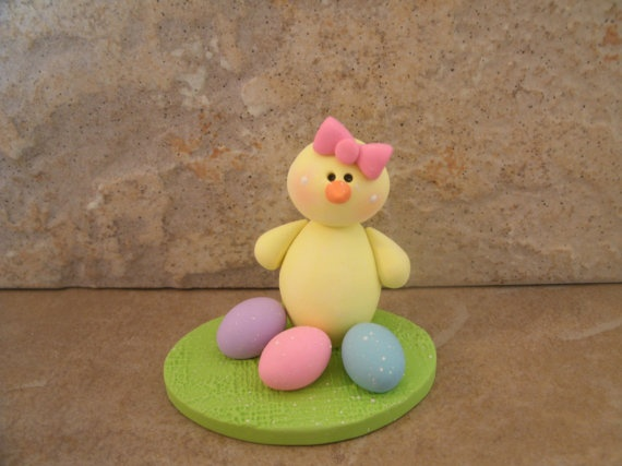 Easter Chick and Eggs by countrycupboardclay on Etsy, $8.95