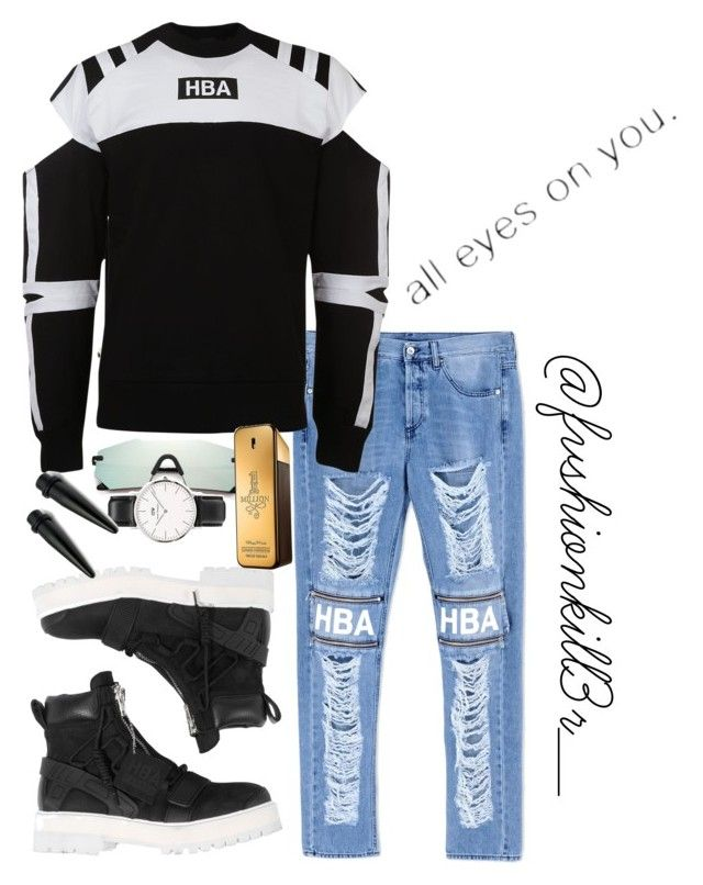 """""""HBA"""" by fvshionkill3r ❤ liked on Polyvore featuring Hood by Air, Glassing, Paco Rabanne, Daniel Wellington, men's fashion and menswear"""