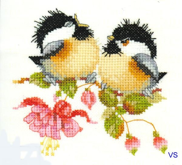 Heritage Valerie Pfeiffer Counted Cross Stitch Chart ~ FUCHSIA CHICK CHAT