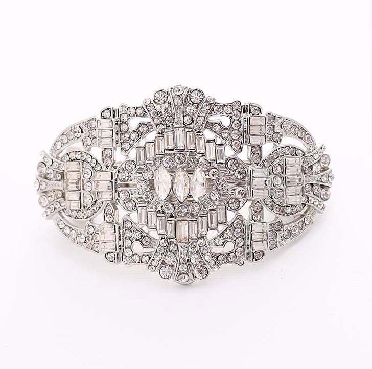 Crystal Silver Hair Barrette Art Deco Bridal Hair Clip Old Hollywood Gatsby Wedding Accessories Rhinestone Hair Barrettes Headpiece Jewelry by BestForBrides on Etsy https://www.etsy.com/listing/225025706/crystal-silver-hair-barrette-art-deco