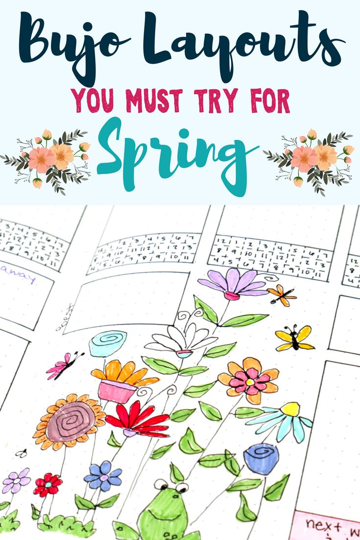 Perfect bullet journal layouts that will prepare you for spring! Planner doodles, fun stickers and stationery, and other bullet journal ideas for spring perfection.