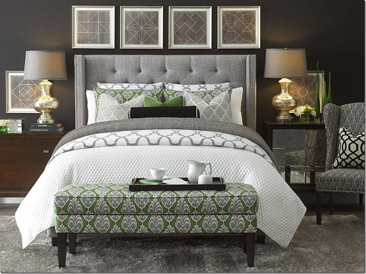 Bedroom.  Grey Tufted Headboard.  Green Accents.  Mercury Glass Lamps.