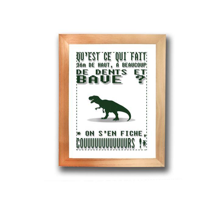 Affiches, posters blague Dinosaure T-Rex : Affiches, illustrations, posters par les-illus-de-ju