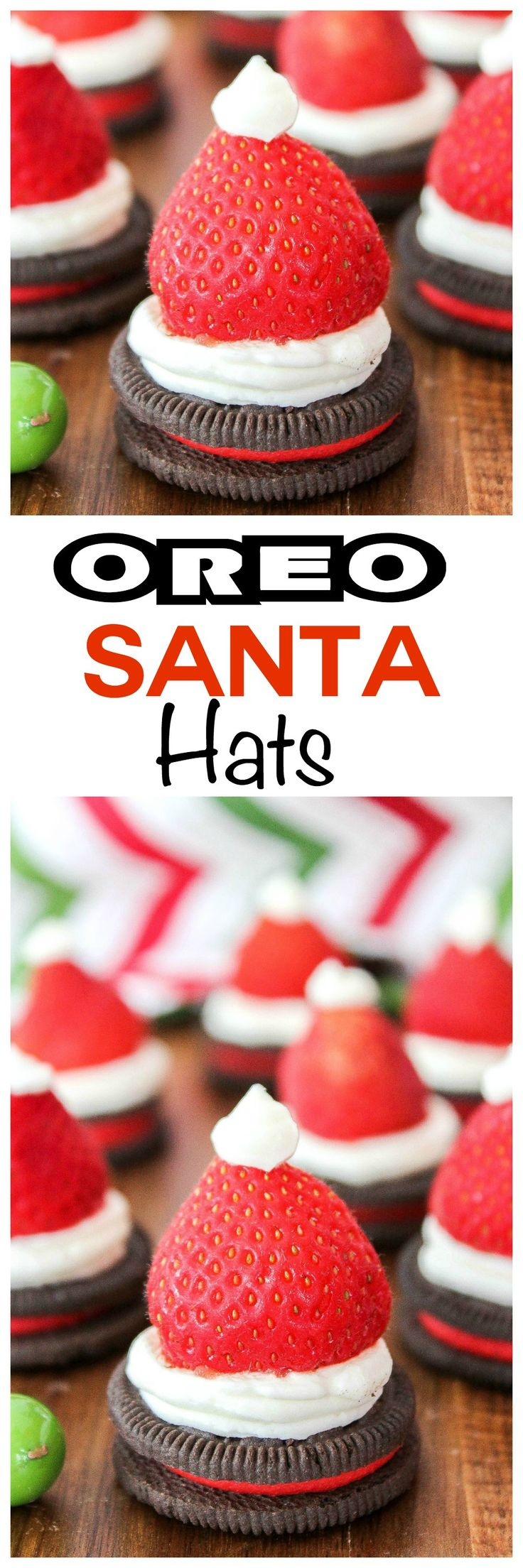 These Oreo Santa hats make a delicious dessert at any Christmas table. Oreo Santa hats are super festive and easy to make. Enjoy!