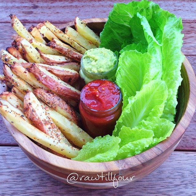rosemary and garlic fries with tomato ketchup and whipped avocado rawtil4 raw till four 4 vegan plant based healthy lean fit food