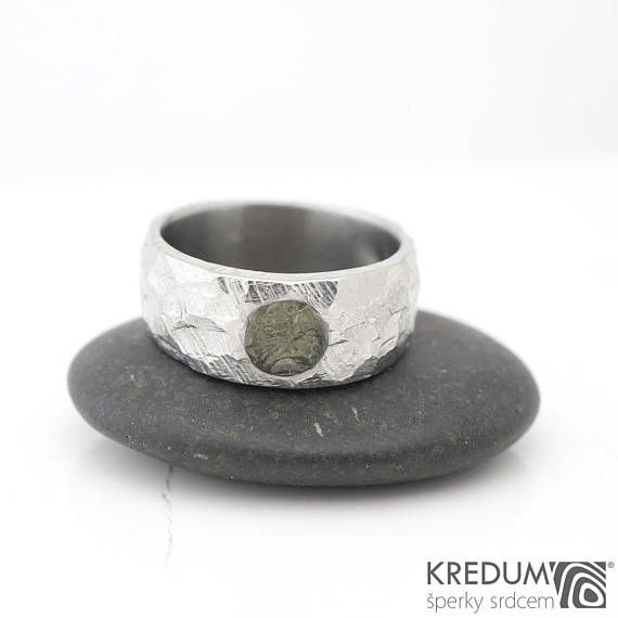 Moldavite WEDDING ring, Handmade stainless steel womens and mens band, male ENGAGEMENT ring, female wedding band - BG Classic with a moldavite  This ring has a surface with a distinctive structure. Cross section shape is lenticular. Inner side is smooth and polished.  The rings are without joints. The stainless steel is maintenance-free and keeps its design.  The ring is complemented by MOLDAVITE