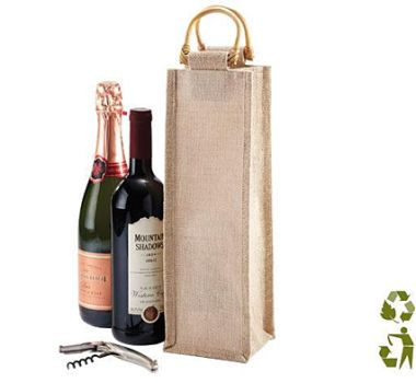 eco wine bag  This Eco Wine Bag has Juco front and back panels with Jute side panels. Contents not included.  #brandability #corporategift #winebag