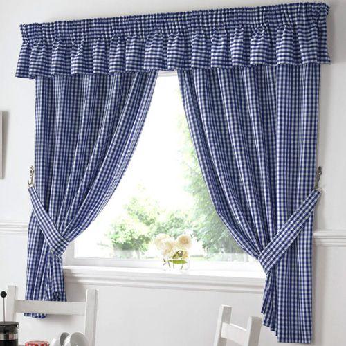 Cute Blue Kitchen Curtains Design Ideas Gingham Blue Kitchen Curtains