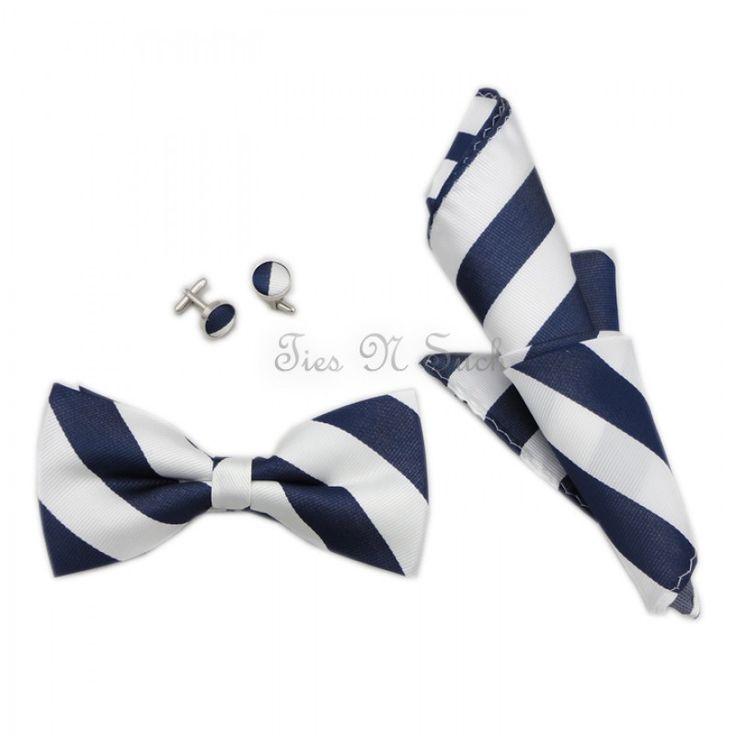 Buy White & Navy College Team Bow Tie Set UK - Ties N Such