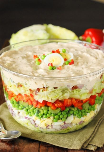 Make-Ahead Layered Picnic Salad ~ With make-ahead convenience, ample size, & fantastic flavors, Make-Ahead Layered Picnic Salad is perfect for backyard barbecues, potlucks, or the random Sunday get-together!   www.thekitchenismyplayground.com