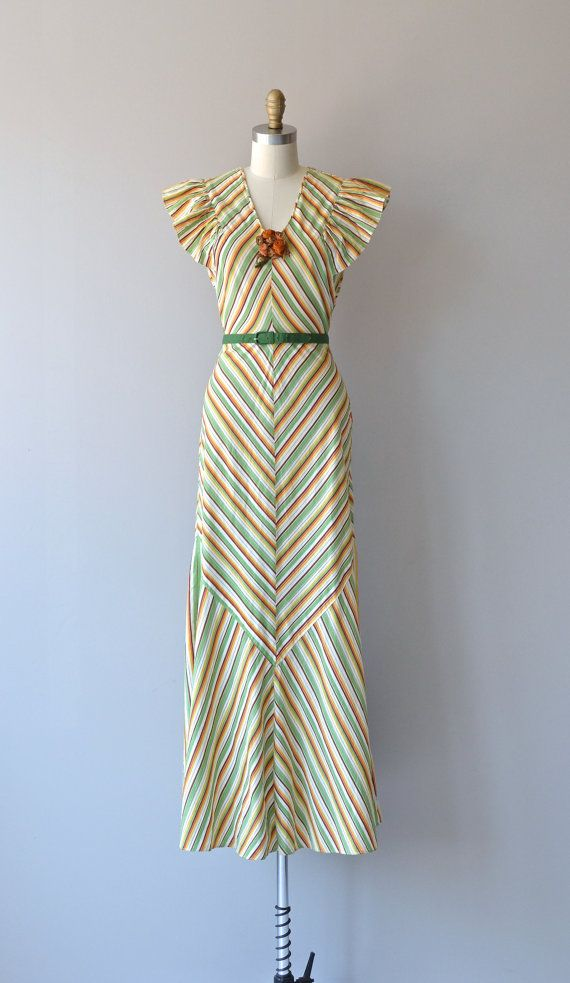 Best Coast dress vintage 1930s dress cotton striped by DearGolden