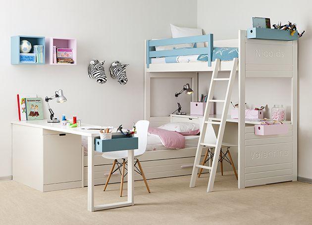 Habitación infantil con cama nido y litera