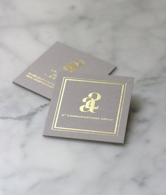 131 best business cards images on pinterest graph design this gold foil logo on square grey card stock creates a simple and classy business card that will still stand out in the crowd reheart Images