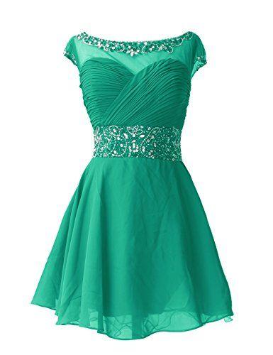 Dresstells Knee Length Prom Dress for Girls Short Homecoming Dress Green Size 2 Dresstells