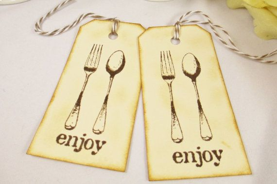 10 Silverware Set Tag, Rehearsal Dinner Tags, Cutlery Gift Tag, Rustic Wedding Fork and Spoon Thank You Tag, Rustic Wedding Bag Tag