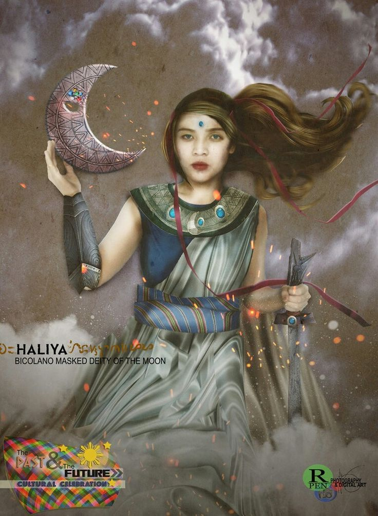 Haliya- Filipino myth: the goddess of the moon and of women. She battles the moon-devouring serpent Bakunawa. #TheSun,TheMoon&TheStars