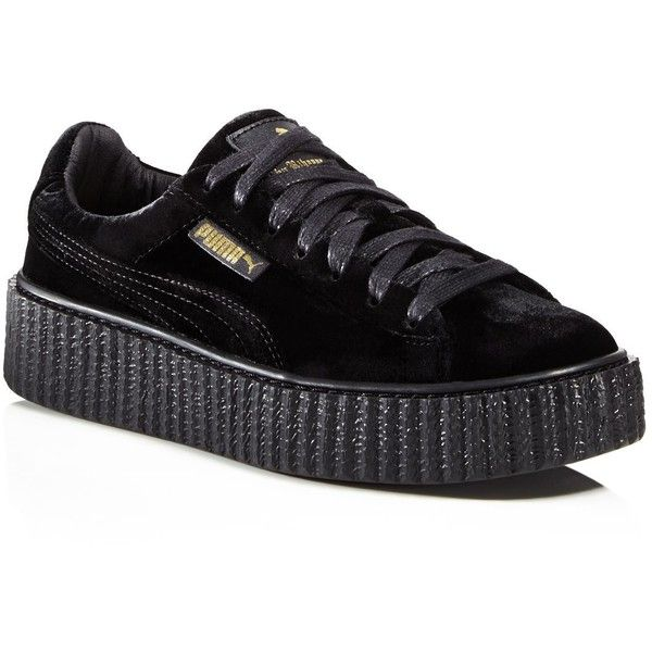 Fenty Puma x Rihanna Women's Velvet Lace Up Creeper Sneakers ($160) ❤ liked on Polyvore featuring shoes, sneakers, sapato, black, creeper shoes, puma shoes, black laced shoes, lace up sneakers and black trainers