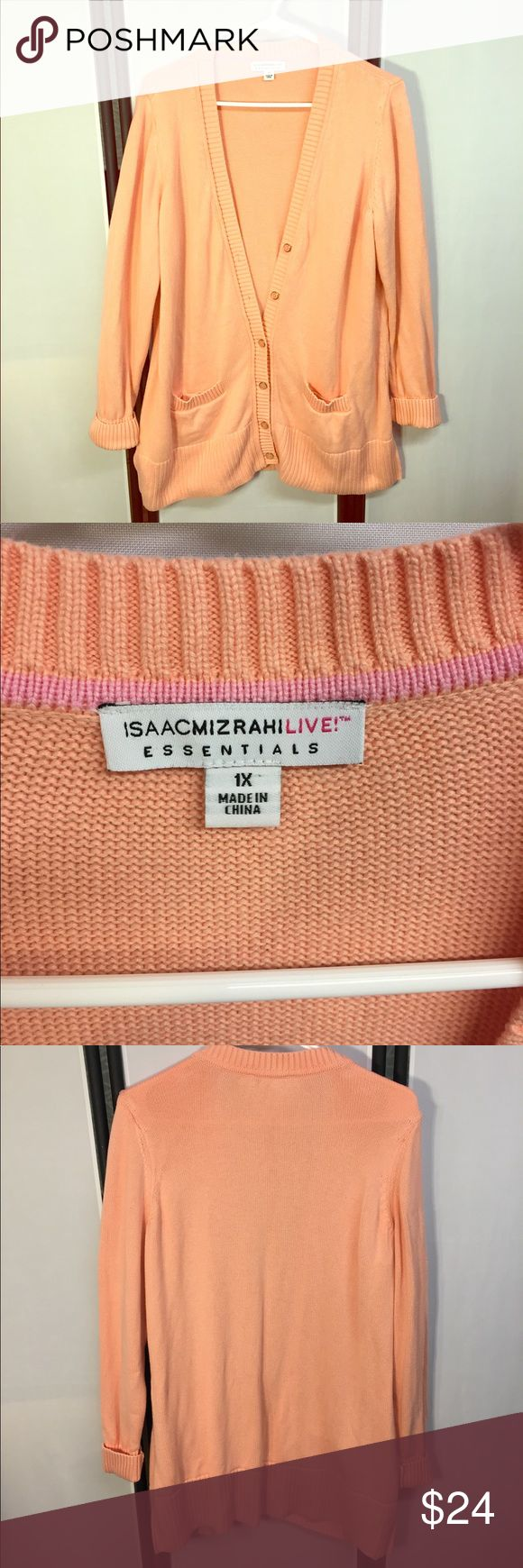 Isaac Mizrahi Long Knit Coral Cardigan Sweater 1X Isaac Mizrahi Long Knit Coral Cardigan Sweater. Size 1X. Beautiful comfy and cozy long Button Cardigan. Perfect for winter.  Excellent very gently worn condition. Isaac Mizrahi Sweaters Cardigans