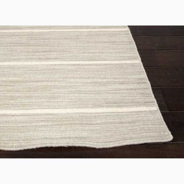 Hand-Made Stripe Pattern Gray/ Ivory Wool Rug (8x10)