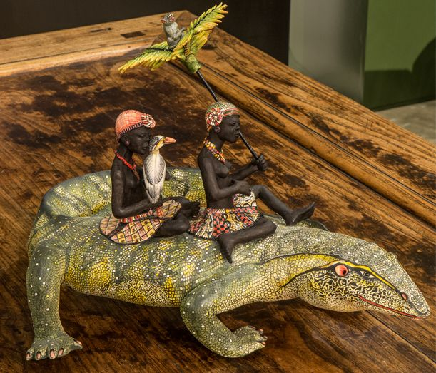 Ardmore's first Water Monitor Lizard slithered it way to the 'o'kavango' Charles Greig Exhibition at Hyde Park, Johannesburg. 17th August to 10th September. Stahbiso Hadebe and Bennet Zondo really enjoyed working with new subject matter.