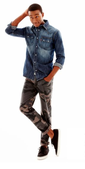 Levi Denim Pearl Snap Shirt And Camo Pants Mens Fashions