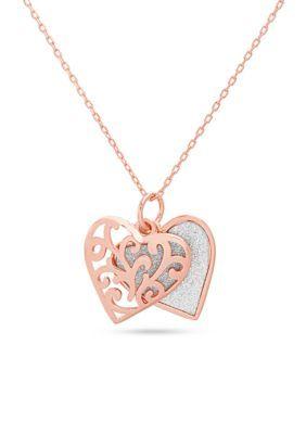 Belk Silverworks Women Rose Gold Glitter Heart Pendant Necklace - Rose Gold - One Size