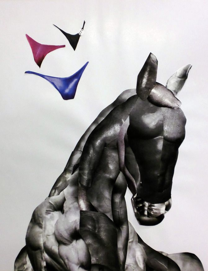 Collage. Horse out of bodybuilders. Johan Ray Pedersen #horseart  #bodybuilder #art #collage #horse
