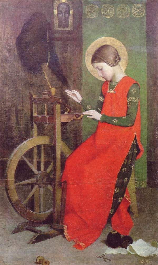 St Elizabeth of Hungary Spinning for the Poor, 1895. Treadle wheel but is it period for the subject, not the painting's date?