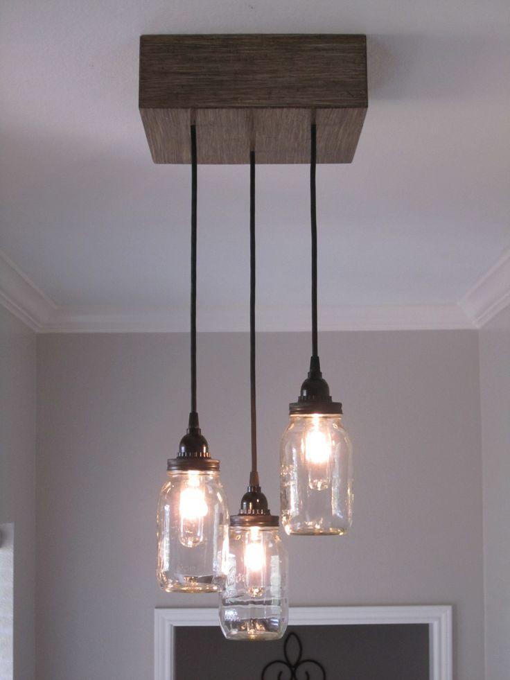 Square 3 Mason Jar Ceiling Light/ Chandelier