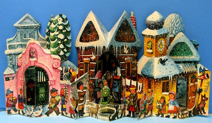 Crèche by Vojtech Kubasta. It is a fold-out scene. Signature is on the right side.  This is the 1968 version, and it has the separate carollers stand-up missing.  Dimensions: approx.50cm folded out and 26cm high.  There is also a 1967 and a 1991 version, with different carollers.