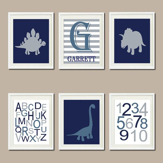 DINOSAUR Nursery Art Decor Name Monogram ABC 123 Navy Nickel Gray Storm Blue Set of 6 Prints Dino Nature Boy Playroom Wall Art Crib Bedding