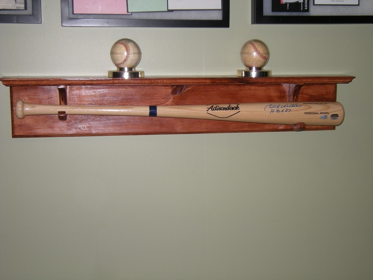 Handmade Custom Baseball Bat Holder With Shelf 2g