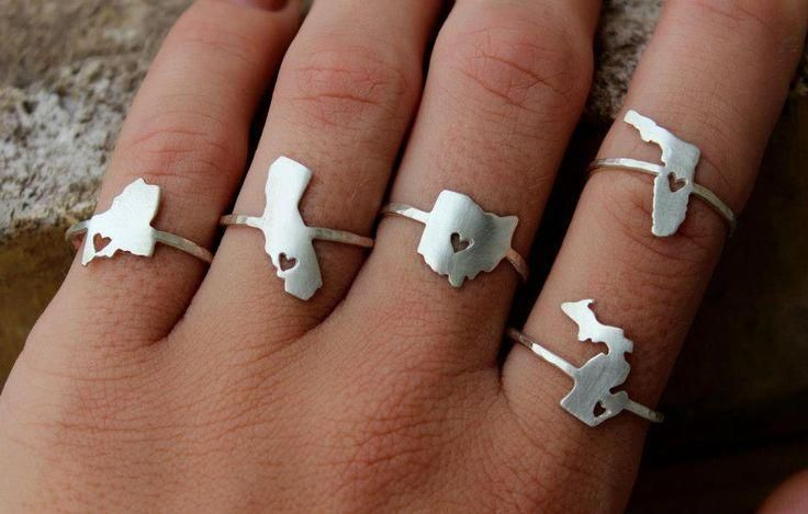 Any State (or country) Love Ring.  via Etsy.
