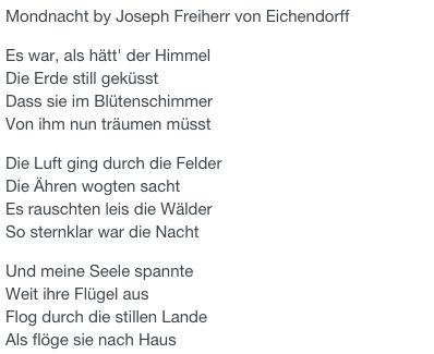 Mondnacht by Joseph Freiherr von Eichendorff                                                                                                                                                                                 Mehr
