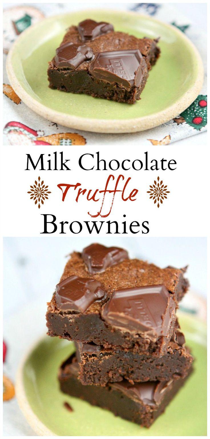 Milk Chocolate Truffle Brownies #recipe - brownies for major chocolate lovers!