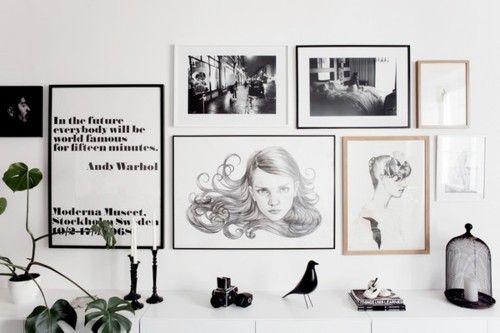 Black and white gallery: Decor, Interior, Idea, Inspiration, Black And White, Gallery Wall, Art Wall